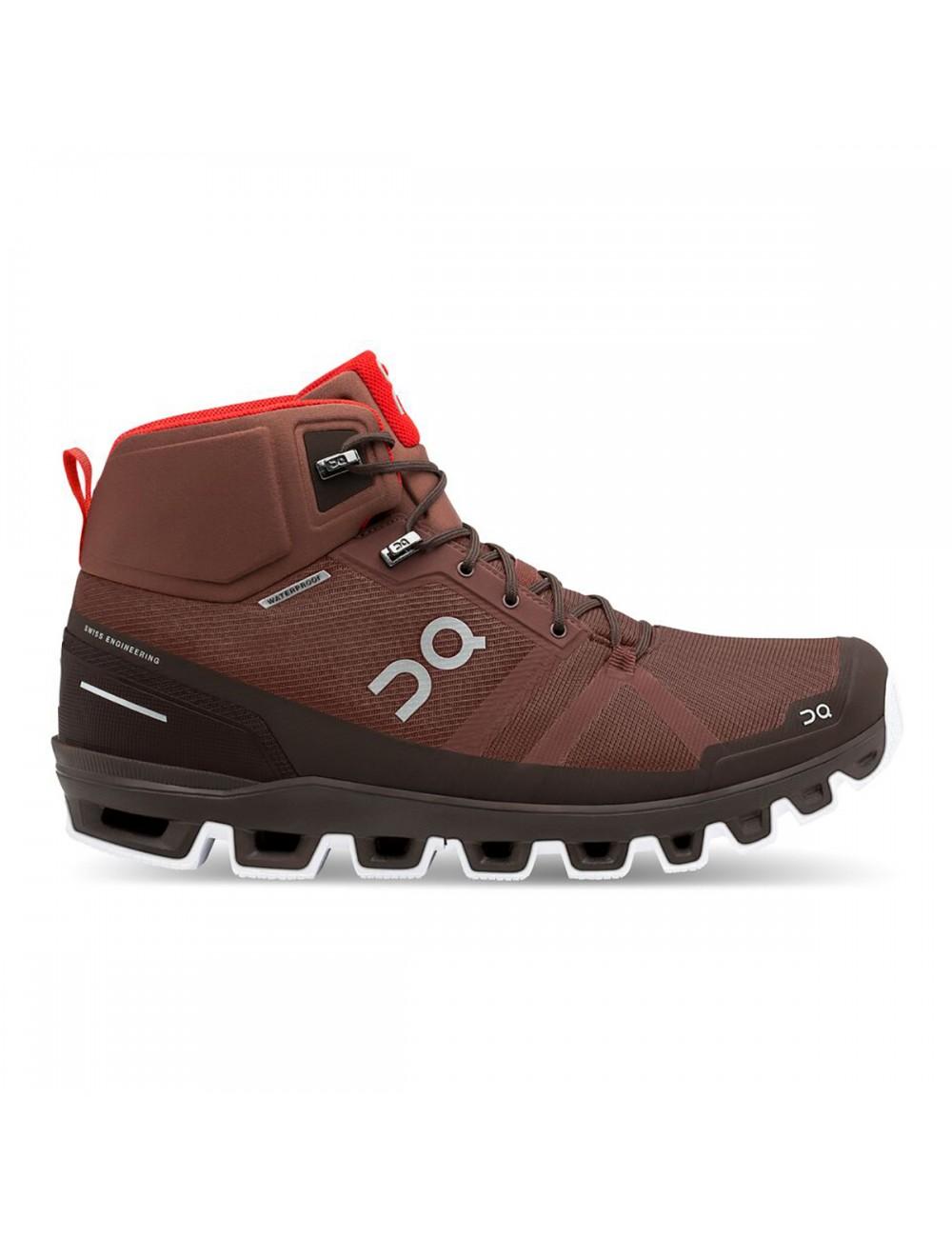 ON Cloudrock Waterproof Shoe - Cocoa/Red_12665