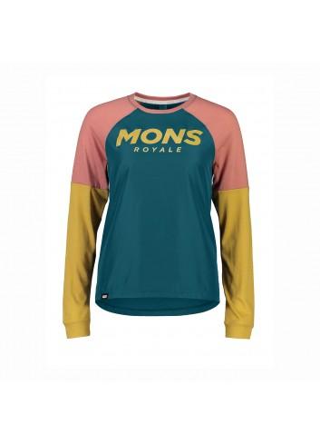 Mons Royale Tarn Freeride LS Wind Jersey - Deep Teal/Pink Clay_13451