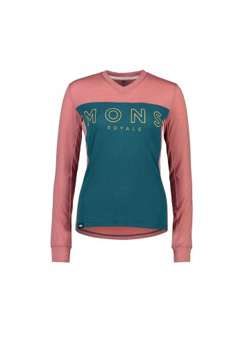 Mons Royale Redwood Enduro VLS Shirt - Deep Teal/Pink Clay_13455