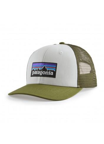 Patagonia P-6 Logo Trucker Hat - White/Green_13906